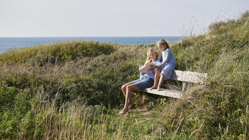 Mother and son in Hirtshals in the dunes, close to the beach