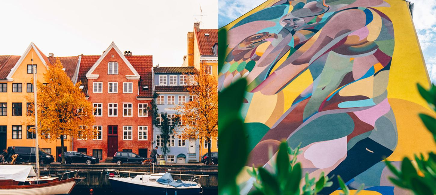 A canal house and a mural in Nørrebro, Copenhagen